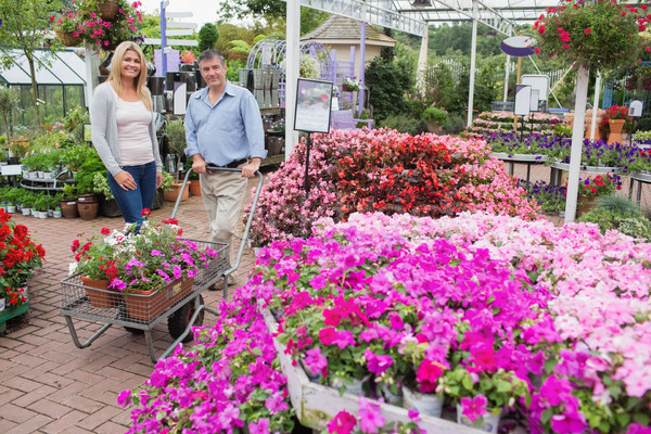 Couple pushing the trolley full of flowers in garden center Stock photo © wavebreak_media