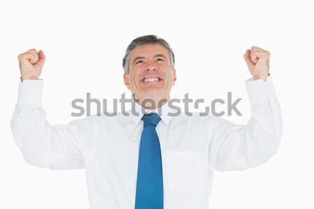 Zakenman juichen gelukkig zakenlieden pak mannelijke Stockfoto © wavebreak_media