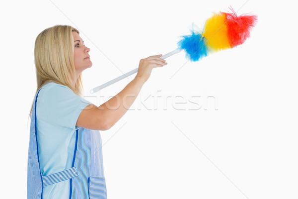 Stok fotoğraf: Kadın · temizlik · tüy · beyaz · kadın · mutlu · kadın