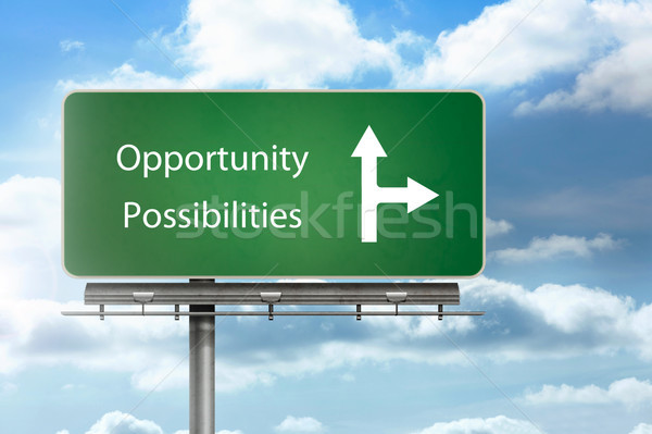 Opportunity and possibilities written over a signpost Stock photo © wavebreak_media