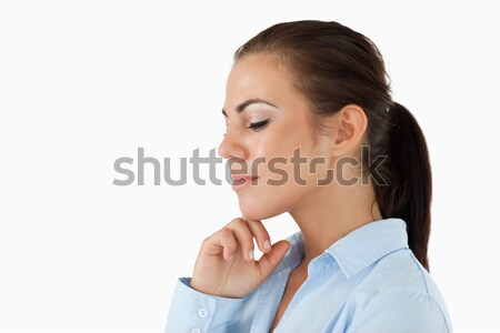 Sorrindo mão tocante queixo branco retrato Foto stock © wavebreak_media