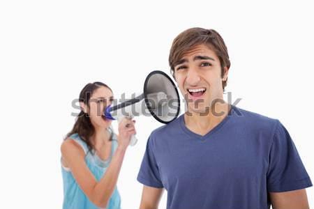 Jókedv énekel egyéb karaoke fehér mikrofon Stock fotó © wavebreak_media