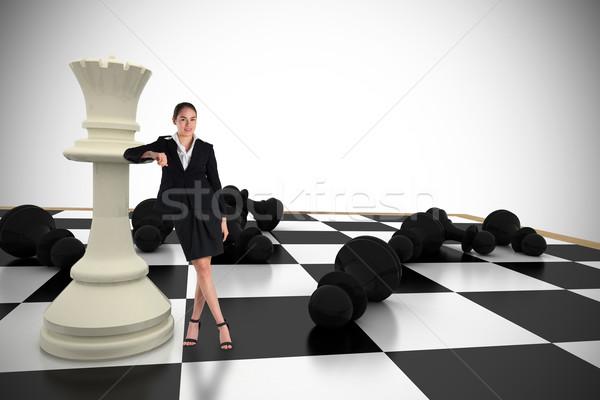 összetett kép fiatal üzletasszony áll dől Stock fotó © wavebreak_media