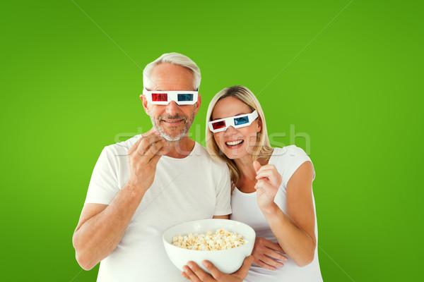 изображение счастливым пару 3d очки Сток-фото © wavebreak_media