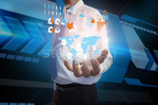 Stockfoto: Zakenman · presenteren · interface · digitale · composiet · business · hand