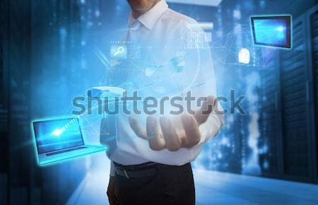 Vinger wijzend gegevens interface digitale composiet Stockfoto © wavebreak_media