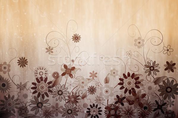 Digitálisan generált virágmintás terv szépia Stock fotó © wavebreak_media