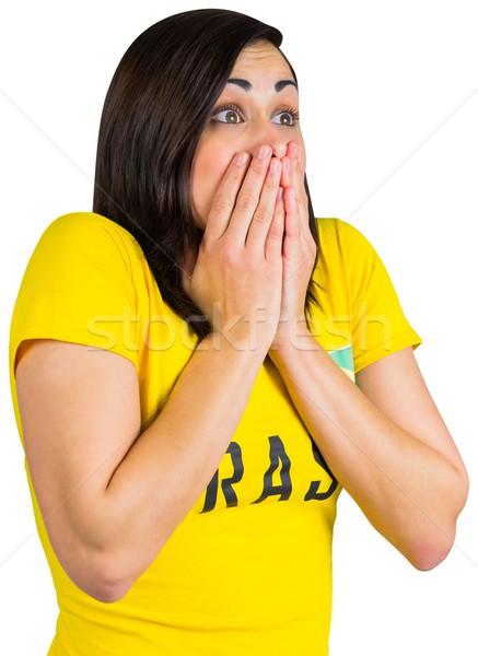 Nerwowy piłka nożna fan tshirt biały Zdjęcia stock © wavebreak_media