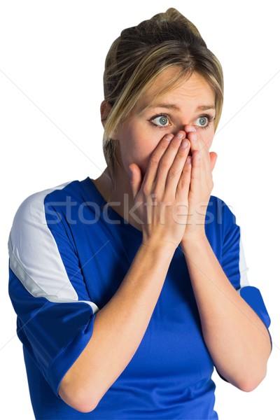 Ideges futball ventillátor kék energia csésze Stock fotó © wavebreak_media