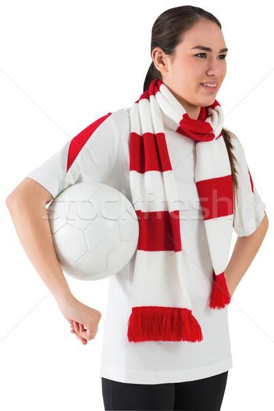 Mosolyog futball ventillátor fehér tart labda Stock fotó © wavebreak_media