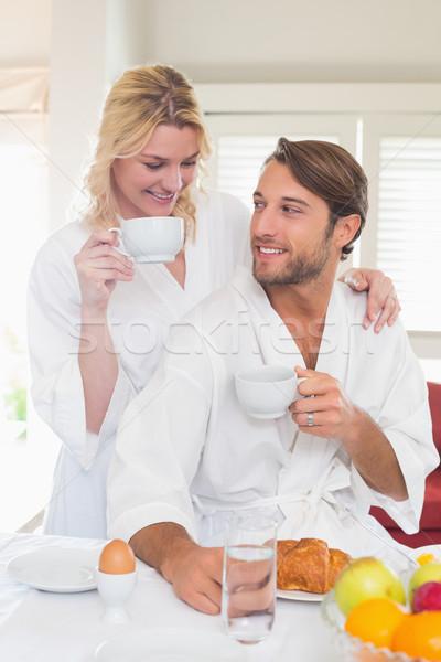 Stockfoto: Cute · paar · ontbijt · samen · home · woonkamer