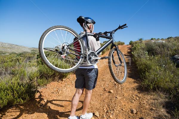 Stock fotó: Fitt · kerékpáros · hordoz · bicikli · vidék · terep