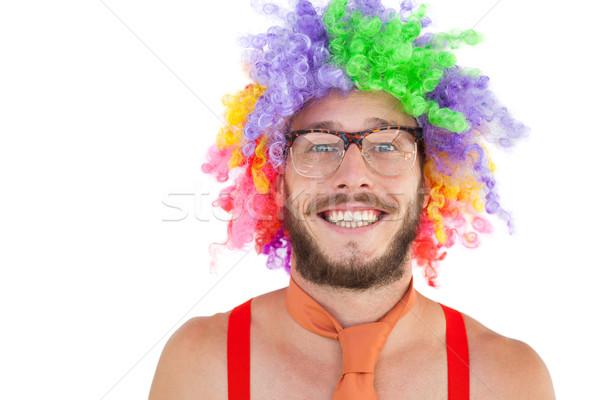 Afro regenboog pruik witte leuk Stockfoto © wavebreak_media