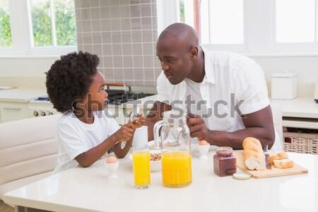 Gelukkig moeder baby zoon ontbijt Stockfoto © wavebreak_media
