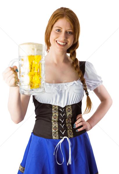 Oktoberfest fată zâmbitor aparat foto bere Imagine de stoc © wavebreak_media