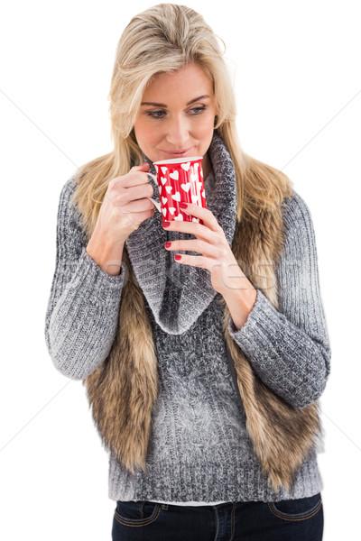 Donna inverno vestiti mug bianco Foto d'archivio © wavebreak_media