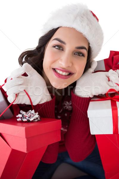 Photo stock: Heureux · brunette · plein · cadeaux