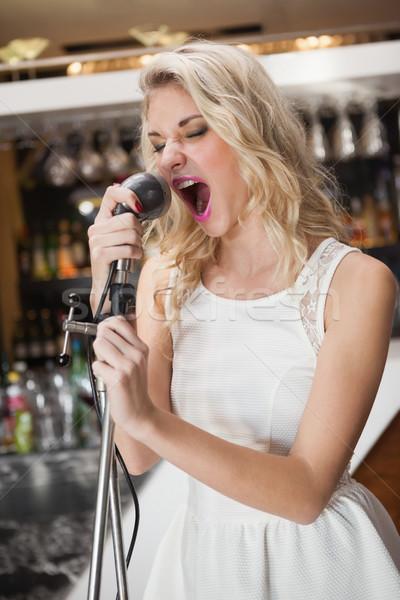 Gyönyörű fiatal nő énekel mikrofon éjszakai klub bár Stock fotó © wavebreak_media