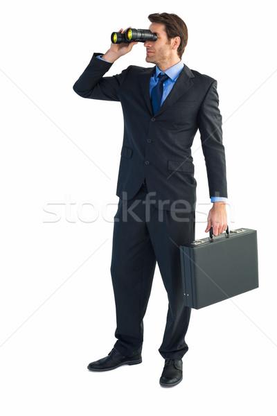бизнесмен бинокль портфель белый человека Сток-фото © wavebreak_media