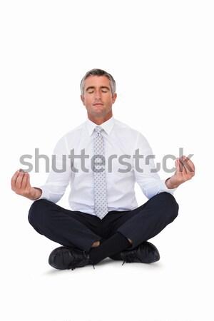 Zen imprenditore Lotus posa bianco Foto d'archivio © wavebreak_media