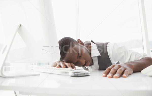 Moe zakenman slapen toetsenbord kantoor muis Stockfoto © wavebreak_media