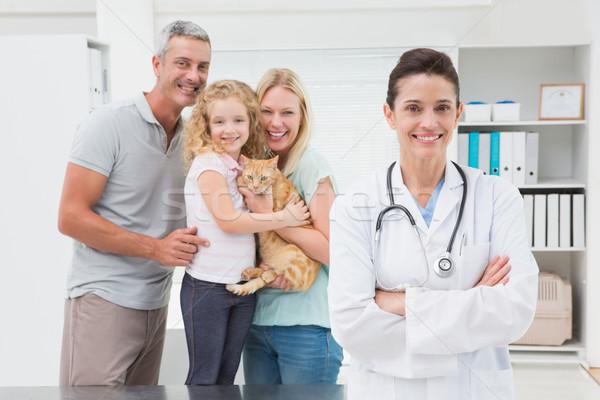 Veteriner kedi sahipleri gülen kamera tıbbi Stok fotoğraf © wavebreak_media
