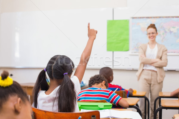 Alunos mão geografia lição sala de aula escola primária Foto stock © wavebreak_media