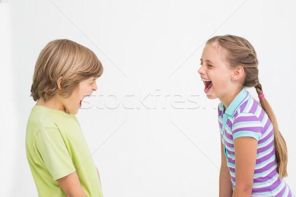 Broers en zussen lachend witte zijaanzicht meisje liefde Stockfoto © wavebreak_media