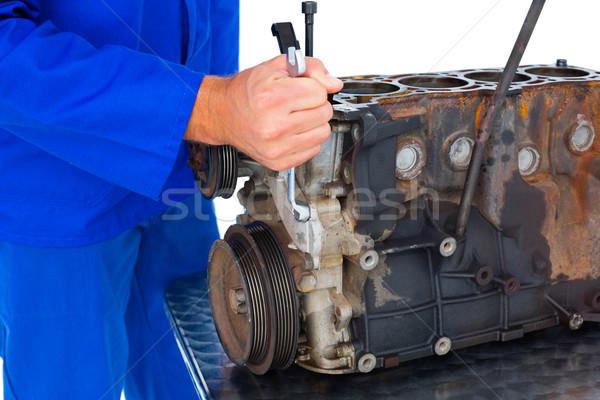 Male mechanic repairing car engine Stock photo © wavebreak_media