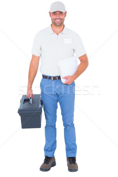 Mężczyzna technik przybornik schowek portret Zdjęcia stock © wavebreak_media