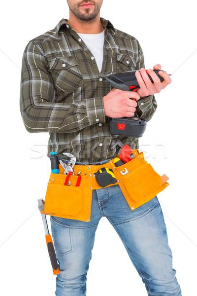 Handbuch Arbeitnehmer halten Handschuhe Hammer Macht Stock foto © wavebreak_media