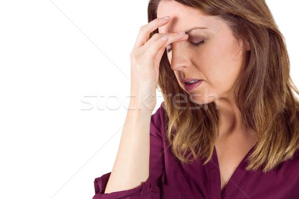 かなり ブルネット 頭痛 触れる 額 白 ストックフォト © wavebreak_media