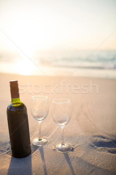 bottle of vine with two glass Stock photo © wavebreak_media