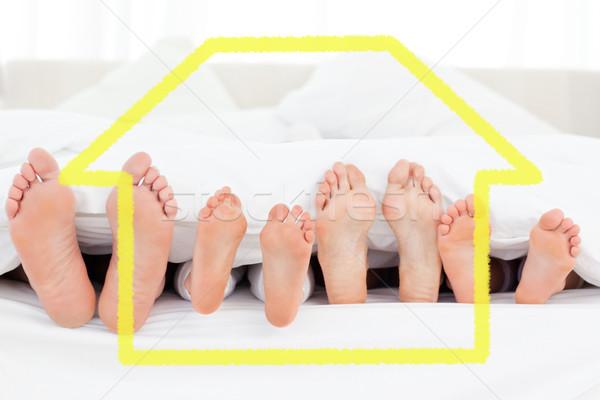 изображение ног кровать указывая прямой Сток-фото © wavebreak_media