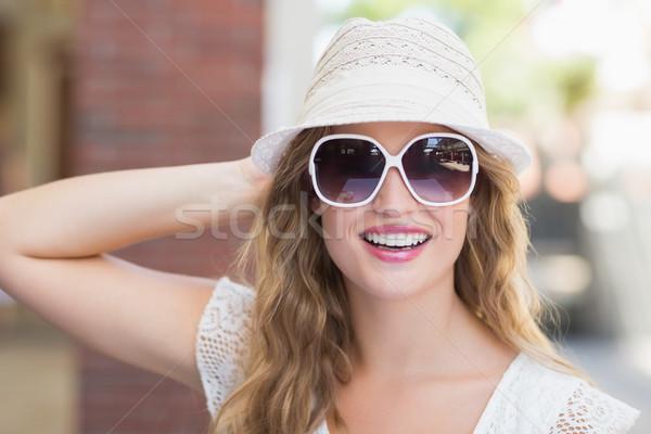 Stockfoto: Mooie · vrouw · genieten · zon · portret