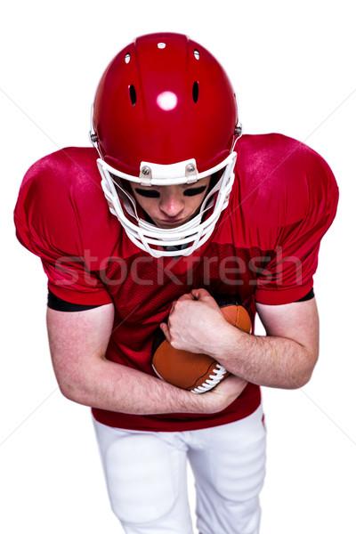 Foto stock: Americano · futbolista · ejecutando · pelota · blanco · deporte