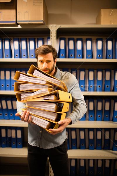 Aggódó üzletember tart akták tároló boglya Stock fotó © wavebreak_media