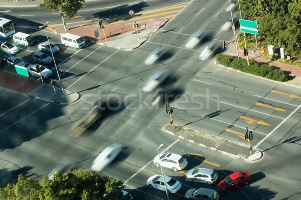 Bemozdult autók út kereszteződés napos idő számítógép Stock fotó © wavebreak_media