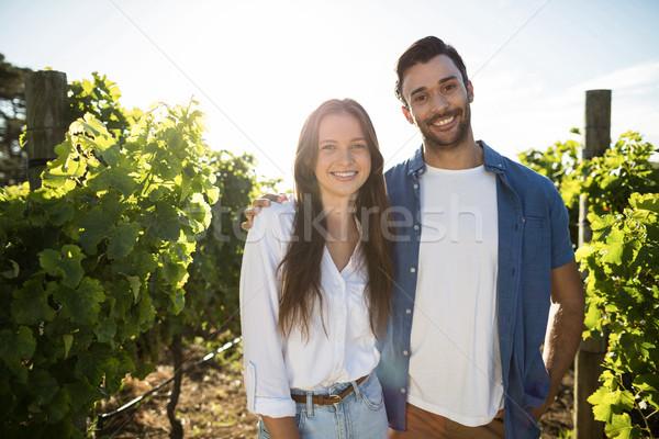 портрет улыбаясь пару Постоянный виноградник Сток-фото © wavebreak_media
