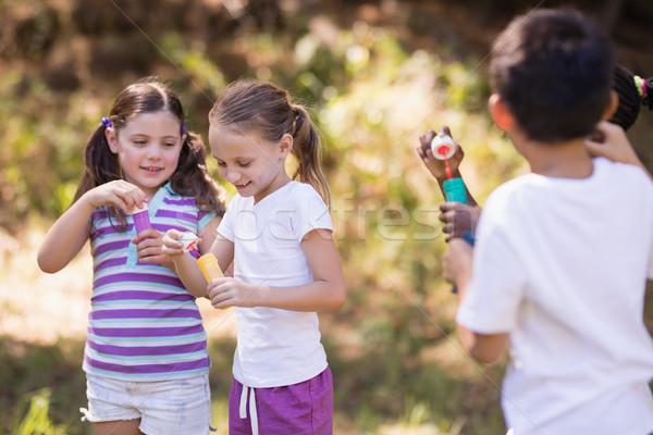 Gruppo amici giocare bolla foresta natura Foto d'archivio © wavebreak_media
