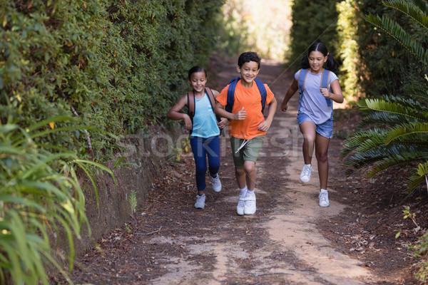 Friends running on field at natural parkland Stock photo © wavebreak_media