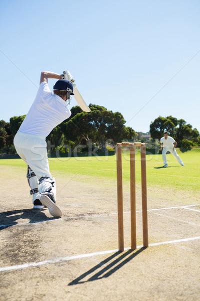 Hátsó nézet krikett játékos játszik mező tiszta égbolt Stock fotó © wavebreak_media