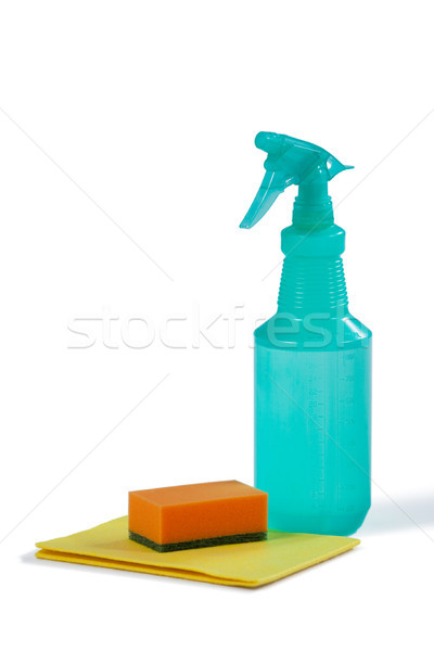 Takarítás spray üveg szivacs fehér együtt Stock fotó © wavebreak_media