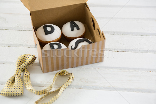 Magasról fotózva kilátás minitorták szöveg doboz csokornyakkendő Stock fotó © wavebreak_media