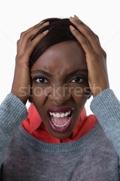 Portrait jeune femme tête main blanche Photo stock © wavebreak_media