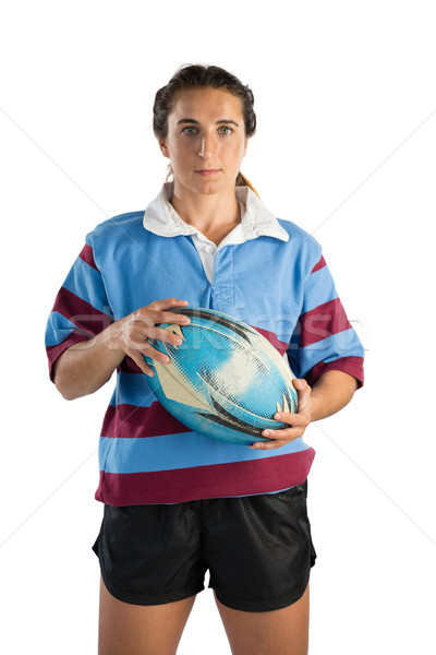 Portrait of confident female player with rugby ball Stock photo © wavebreak_media