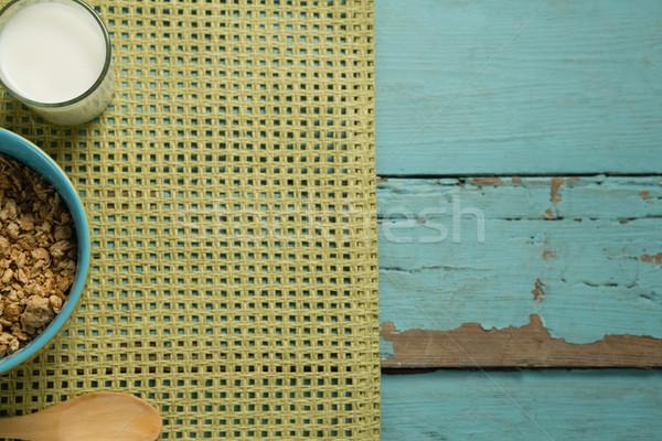Tál gabonafélék üveg joghurt reggeli fa asztal Stock fotó © wavebreak_media