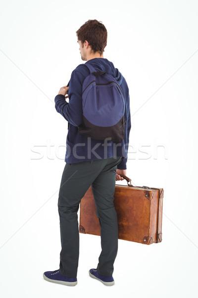 Hátsó nézet férfi hátizsák aktatáska áll fehér Stock fotó © wavebreak_media