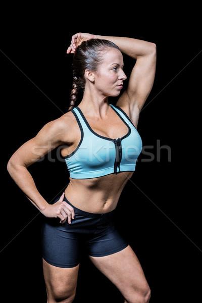 美人 スポーツウェア 黒 フィットネス 電源 女性 ストックフォト © wavebreak_media
