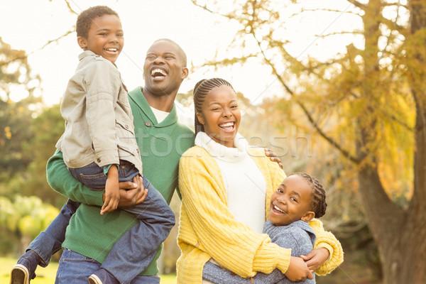 Portré mosolyog fiatal család nevet nő Stock fotó © wavebreak_media